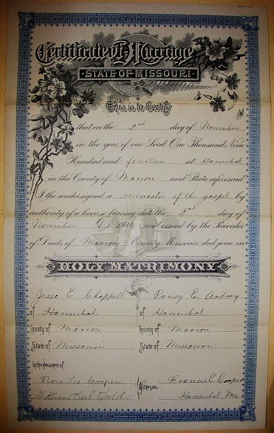Jesse and Pansy Marriage Certificate